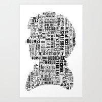 Sherlock BBC Benedict Cumberbatch Typography Silhouette Art Print