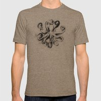 Flat Octopus Mens Fitted Tee Tri-Coffee SMALL