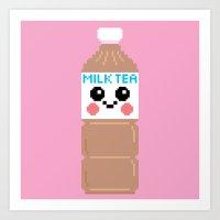 Happy Pixel Milk  Tea Art Print
