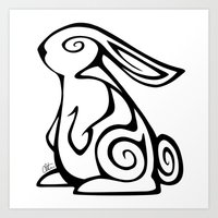 Rabbit Swirls Art Print