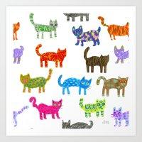 Cat Pattern Art Print