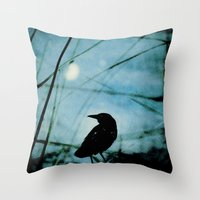 The Raven And The Orb Throw Pillow