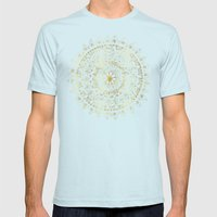 Gold Hand Drawn Mandala Mens Fitted Tee Light Blue SMALL