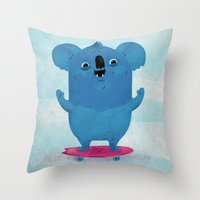 Kickflip Koala Throw Pillow