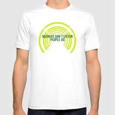 listen SMALL Mens Fitted Tee White