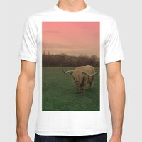 Scottish Highland Steer Mens Fitted Tee White SMALL