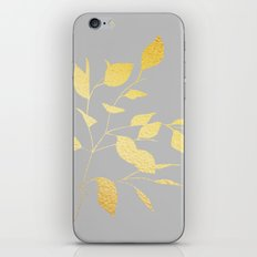 Leaves Gold on Grey iPhone & iPod Skin