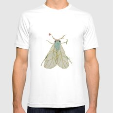 Moth Illustration  White Mens Fitted Tee SMALL