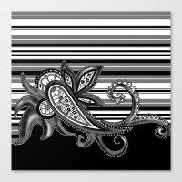 Paisley Stripe: Black Canvas Print