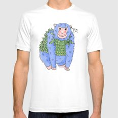 Peachtree The Chimp in Blue White Mens Fitted Tee SMALL