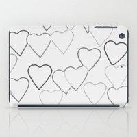 Black and White R Hearts iPad Case