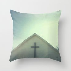 Church and Sky Throw Pillow