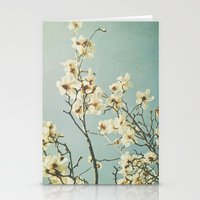 Magnolia blossoms. Mint Stationery Cards