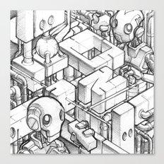 Robots playing sketch Canvas Print