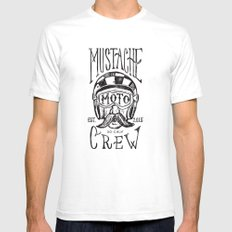 Mustache Moto Crew White Mens Fitted Tee SMALL