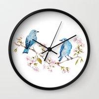 Mountain Bluebirds On Sa… Wall Clock