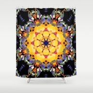 Golden Flower Abstract Shower Curtain