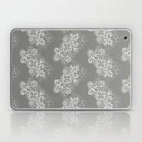 White on Grey Lace Laptop & iPad Skin