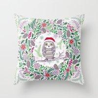 Owl Wreath Throw Pillow