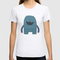 BLUE MONSTER Womens Fitted Tee Ash Grey SMALL
