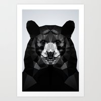 Bear - Black Geo Animal Series Art Print