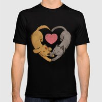 Cat Love Dog Mens Fitted Tee Black SMALL