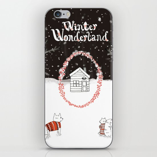 Winter Wonderland Holiday card/illustration iPhone & iPod Skin