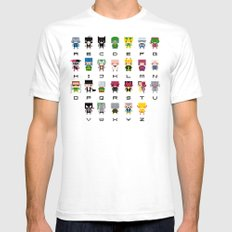 Pixel Supervillain Alphabet 2 SMALL White Mens Fitted Tee