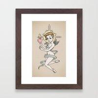 Arc Angel with Heart on Fire Framed Art Print