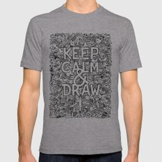 Keep Calm and Draw Mens Fitted Tee Athletic Grey SMALL