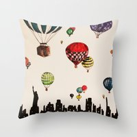 Balloon Ride Over NYC Throw Pillow