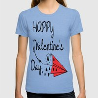 Happy Valentine's Day Womens Fitted Tee Tri-Blue SMALL