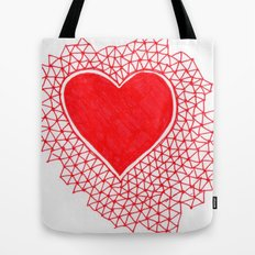 red geometric heart Tote Bag