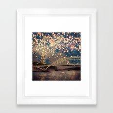 Love Wish Lanterns over Paris Framed Art Print