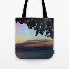 SUNSET BETWEEN TREES. Tote Bag