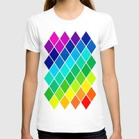 Tetrahedral Rainbow Womens Fitted Tee White SMALL