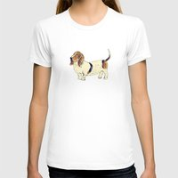 Basset Hound Womens Fitted Tee White SMALL