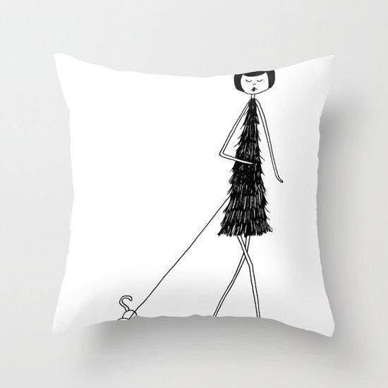 Dog walker Throw Pillow