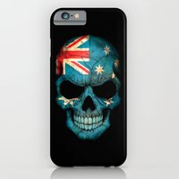 iPhone Cases featuring Dark Skull with Flag of Australia by Jeff Bartels