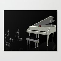 Piano And The Music Note… Canvas Print