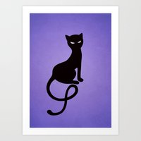 Gracious Evil Black Cat Art Print