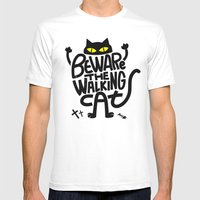 Beware The Walking Cat Mens Fitted Tee White SMALL