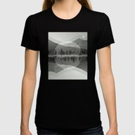 Mountain Mirror BW Womens Fitted Tee Black SMALL