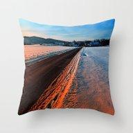 Winter Road At Sundown Throw Pillow