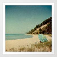 Blue Beach Umbrella Art Print