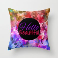 HELLO BEAUTIFUL Colorful Art Typography Inspirational Abstract Watercolor Painting Ombre Rainbow Throw Pillow