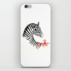 Black Zebra and Orange Bird iPhone & iPod Skin