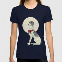 GREYHOUND Womens Fitted Tee Navy SMALL