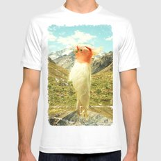 Parrot Mountain White Mens Fitted Tee SMALL