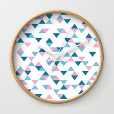 Triangles Blue and Pink Wall Clock